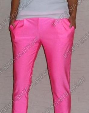 Женские розовые штаны узкие с карманами