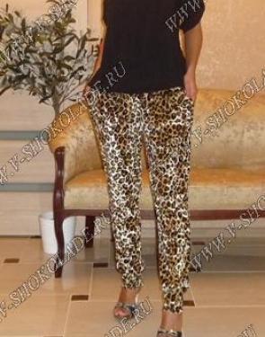 """Велюровые штаны женские бархатные """"Cosmo"""" Леопардовые"""