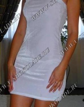Велюровое Плюшевое Платье-футляр Белое