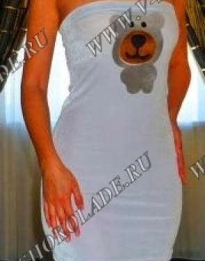 Бархатное Плюшевое Велюровое Платье-футляр Белое с мишкой