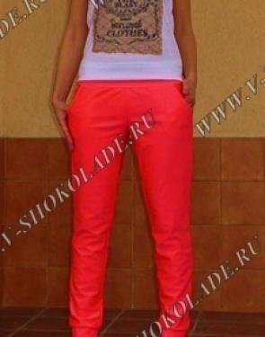 Ярко-Кораловые штаны узкие с карманами