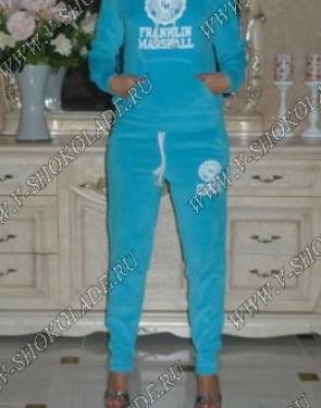 """Велюровый костюм """"Franklin Marshall """" Голубой с капюшоном"""
