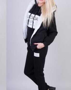 """Тёплый спортивный костюм женский зимний """"Баленсиага"""" Тройка с мехом чёрный купить в интернет магазине"""