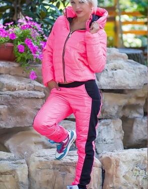 Спортивный костюм женский (Куртка+штаны) Розовый