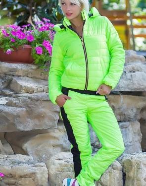 Спортивный костюм женский (Куртка+штаны) Салатовый