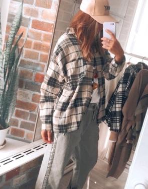 Женская байковая рубашка в клетку / Бежевый