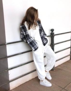 Женская байковая рубашка в клетку / Черно-белый