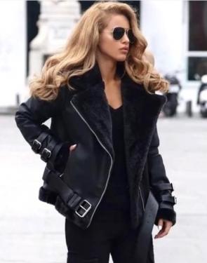 Байкерская куртка из искусственной кожи с меховым воротником и манжетами / Черный