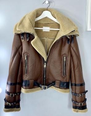 Байкерская куртка из искусственной кожи / Коричневый