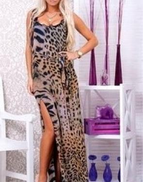 Шифоновый сарафан Леопардовый на завязках