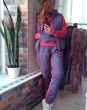 """Спортивный костюм тройка на синтепоне """"Fumo"""" / Фиолет с розовым"""