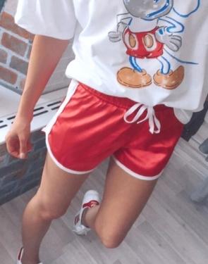 Стильные атласные шорты/ Красный