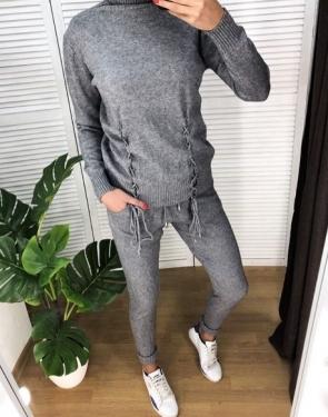 Кашемировый спортивный костюм с завязками / Серый