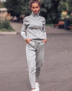 Кашемировый спортивный костюм на молнии / Светло-серый