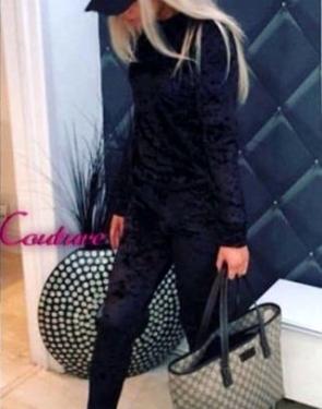 Спортивный костюм из бархата/ Чёрный велюр