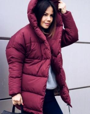 """Утеплённая дутая женская """"Куртка-Зефирка"""" / Бордовый"""