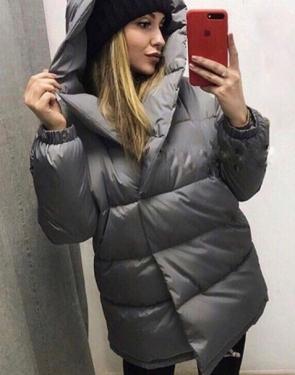 "Утеплённая дутая женская ""Куртка-Зефирка"" / Серый"