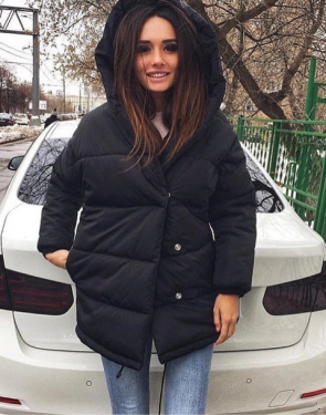 """Утеплённая дутая женская """"Куртка-Зефирка"""" / Черный"""