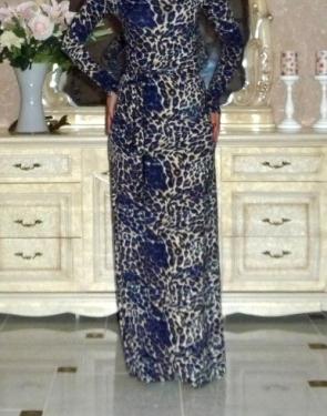 Платье на одно плечо Леопард Синий