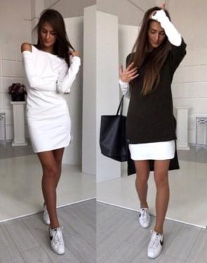 Платье двойка из ангоры черное с белым