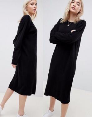 Платье-джемпер из тонкого трикотажа Черное