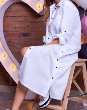 Хлопковое платье-рубашка / Белое