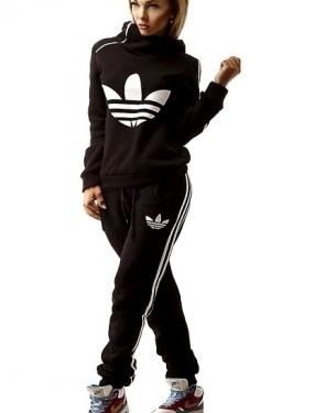 Спортивный костюм утеплённый Аdidas-3 Черный с белым логотипом