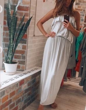 Платье бандо светло-серое