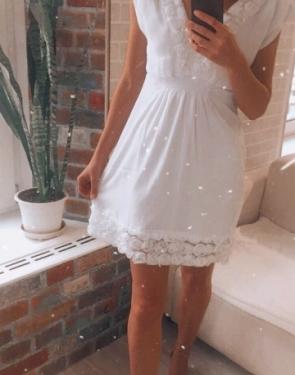 Шифоновое Белое платье отделка цветами