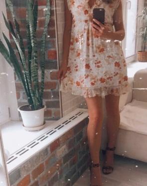 Шифоновое платье c цветами
