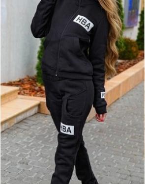 "Тёплый костюм на молнии ""HBA"" / Чёрный"