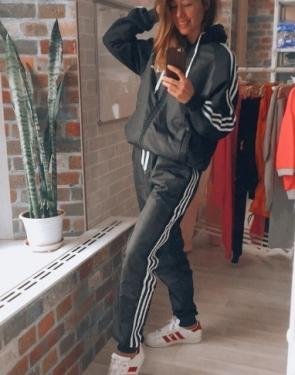 """Утепленный спортивный костюм женский """"Adidas"""" / Большие размеры / Черный"""