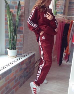"""Утепленный спортивный костюм женский """"Adidas"""" / Большие размеры / Бордовый"""