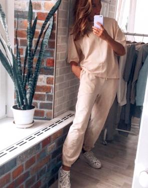 Женский летний спортивный костюм с коротким рукавом / Серый меланж
