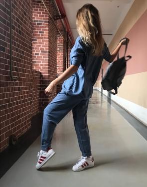"""Женский спортивный костюм """"Plus Size Models"""" / Большие размеры / Серо-голубой"""