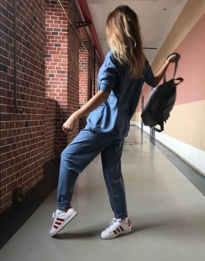 "Женский спортивный костюм ""Life style"" оверсайз  / Серо-голубой"