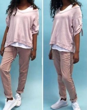 Хлопковые штаны женские / Розовый