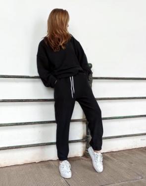 Женский вельветовый спортивный костюм Oversize / Черный