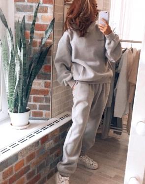 Женский утепленный спортивный костюм из органического хлопка/ Серый
