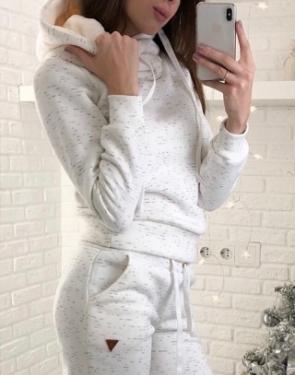 Спортивный костюм утеплённый флисом Soft / Молочный
