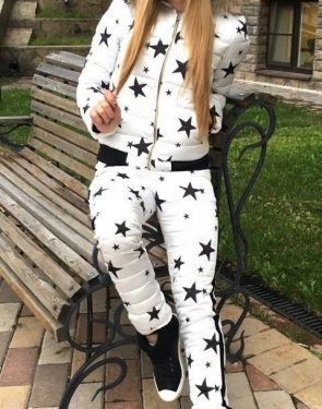 """Тёплый спортивный костюм Куртка+штаны """"Звёздочки"""" / Белый"""