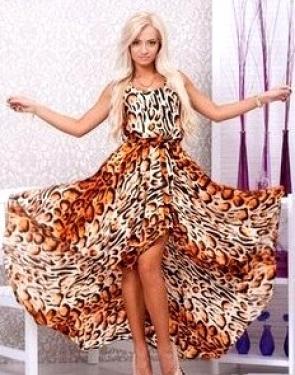 "Атласное платье ""Леопард"""