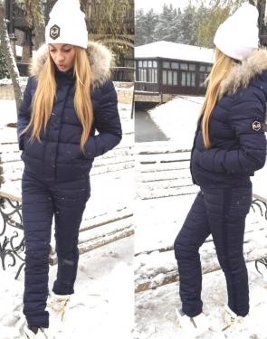 Тёплый спортивный костюм женский Куртка и штаны / Синий