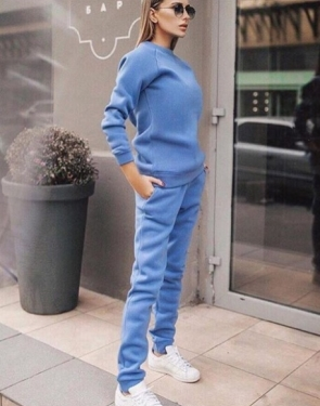 Утепленный спортивный костюм на флисе/ Голубой