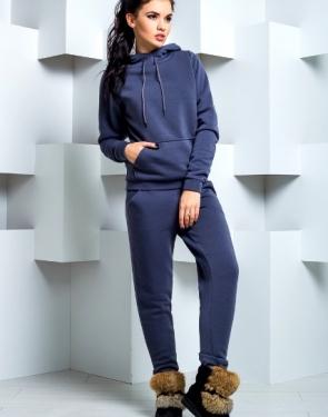 Утепленный спортивный костюм с карманами / Серо-синий