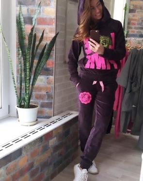 """Велюровый костюм """"Love Pink """" Серо-коричневый с капюшоном"""