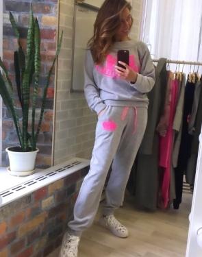 """Велюровый костюм """"Juicy Couture"""" Серый с розовым"""
