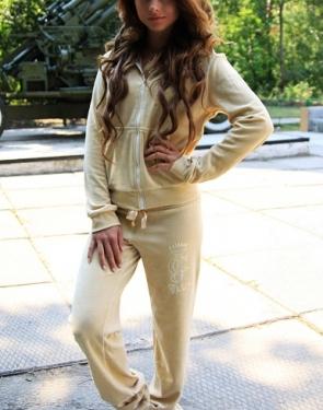 """Велюровый костюм на молнии """"Juicy Couture""""  Бежевый"""