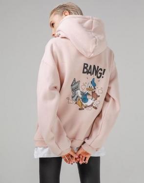 """Толстовка спортивная женская с капюшоном """"BANG!"""" / Бледно-розовый"""