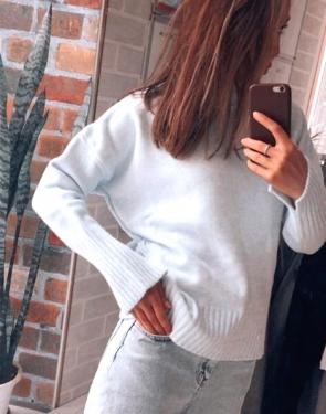 Тёплый кашемировый свитер женский / Голубой